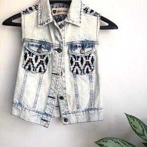 Doo southwestern embroidered acid wash denim vest